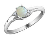 Created Opal Ring with Diamonds in 10K White Gold