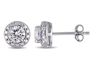 Created White Sapphire 1.25 (ctw) Stud Earrings in Sterling Silver