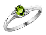 Peridot Ring with Diamonds in 10K White Gold