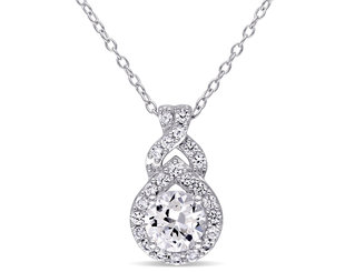 Created White Sapphire 1 4/5 Carat (ctw) Pendant Necklace in Sterling Silver With Chain