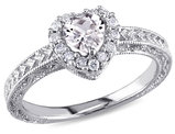 Created White Sapphire 3/5 Carat (ctw) Heart Halo Engagement Ring with Diamonds in Sterling Silver