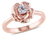 Created White Sapphire 1/3 Carat (ctw) Floral Ring in Rose-plated Sterling Silver