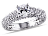 Created White Sapphire 3 1/6 Carat (ctw) Engagement Ring In Sterling Silver