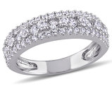Created White Sapphire 1 1/7 Carat (ctw) Anniversary Band In Sterling Silver