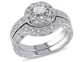 Created White Sapphire 1/3 Carat (ctw) Bridal Engagement Ring and Wedding Band Set with Diamonds in Sterling Silver