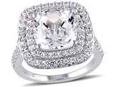 Cushion Cut Created White Sapphire 7.1 Carat (ctw) Double Halo Engagement Ring in Sterling Silver