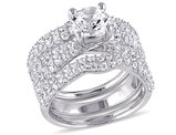 Created White Sapphire 4 1/5 Carat (ctw) Bridal Engagement Ring and Wedding Band Set In Sterling Silver