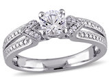 Created White Sapphire 2/3 Carat (ctw) Ring with Diamonds in Sterling Silver