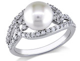 White Freshwater Cultured Pearl 8-8.5mm and Cubic Zirconia Ring In Sterling Silver