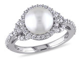 White Freshwater Cultured Pearl 8.5-9mm and Cubic Zirconia Halo Ring In Sterling Silver