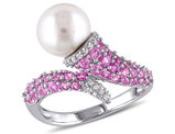 White Freshwater Cultured Pearl 8-8.5mm with Diamond and Created Pink Sapphire Crossover Ring In Sterling Silver