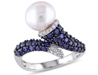 White Freshwater Cultured Pearl 8-8.5mm with Diamond and Created Blue Sapphire Crossover Ring In Sterling Silver