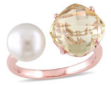 White Freshwater Cultured Pearl and Lemon Quartz Ring In Rose Plated Sterling Silver