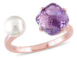 White Freshwater Cultured Pearl and Amethyst Ring In Rose Plated Sterling Silver