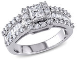 Princess Cut Diamond Engagement Ring 1 3/8 Carat (ctw) in 14K White Gold