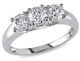 Three Stone Diamond Engagement Ring 1.0 Carat (ctw) in 14K White Gold