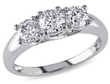 Three Stone Diamond Engagement Ring 1.0 Carat (ctw) in 14K White Gold