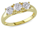 Three Stone Diamond Engagement Ring 1.0 Carat (ctw) in 14K Yellow Gold
