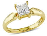 Solitaire Princess Cut Diamond Ring 1.0 Carat (ctw) in 14K Yellow Gold