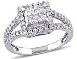 Princess Cut Diamond Halo Engagement Ring 1.0 Carat (ctw Color G-H Clarity I2-I3) in 14K White Gold