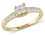Princess Cut Diamond Engagement Ring 1/4 Carat (ctw) in 10K Yellow Gold