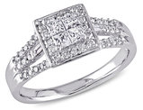 Princess Cut Diamond Engagement Ring 1/2 Carat (ctw Color GH, Clarity I2-I3) in 10K White Gold