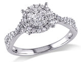Diamond Halo Engagement Ring 1/2 Carat (ctw) in 10K White Gold