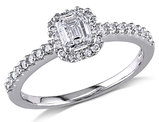 Emerald Cut Halo Diamond Engagement Ring 3/4 Carat (ctw Color G-H, Clarity I1-I2) in 14K White Gold
