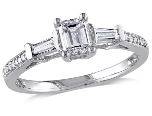 Emerald Cut Diamond Engagement Ring 3/4 Carat (ctw) in 14K White Gold