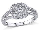Princess Cut Halo Diamond Engagement Ring 1/2 Carat (ctw) in 14K White Gold