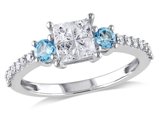 Three Stone Princess Cut Diamond and Blue Topaz Engagement Ring 1/2 Carat (ctw Color G-H, Clarity I2-I3) 14K White Gold