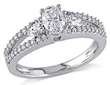 Oval and Pear Shape Diamond Engagement Ring 1.0 Carat (ctw) in 14K White Gold