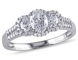 3-Stone Oval Diamond Engagement Ring 1.0 Carat (ctw) in 14K White Gold