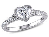 Diamond Halo Heart Cut Engagement Ring 1.0 Carat (ctw) in 14K White Gold