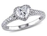 Diamond Halo Heart Engagement Ring 1.0 Carat (ctw) in 14K White Gold