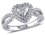 Double Halo Heart Diamond Engagement Ring 1.0 Carat (ctw Clarity SI2-I1 Color G-H) in 14K White Gold