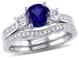 Lab Created Blue and White Sapphire 1 1/3 Carat (ctw) with Diamond Bridal Wedding Set Engagement Ring 10K White Gold