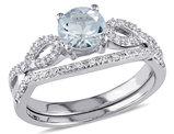 Aquamarine 3/4 Carat (ctw) Engagement Ring and Bridal Wedding Set with Diamond, 10K White Gold