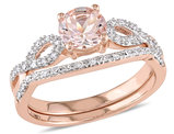 Morganite 4/5 Carat (ctw) Engagement Ring and Bridal Wedding Set 10K Pink Gold
