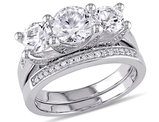 Created White Sapphire 2 5/8 Carat (ctw) Three Stone Engagment Ring Bridal Wedding Set with Diamond 10K White Gold