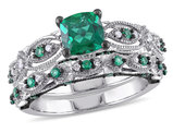 Created Emerald 1 1/3 Carat (ctw) with Diamond 1/10 Carat (ctw) Engagement Ring & Wedding Band Set in 10K White Gold Black Rhodium Plated