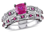 Created Ruby 2 Carat (ctw) with Diamond 1/10 Carat (ctw) Engagement Ring & Wedding Band Set in 10K White Gold Black Rhodium Plated