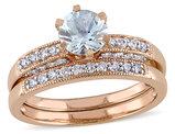 Aquamarine 3/4 Carat (ctw) with Diamond 1/3 Carat (ctw) Bridal Set Ring in 10K Pink Gold