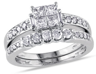 Princess Cut 1.0 Carat (ctw) Diamond Engagement Ring & Band Bridal Wedding Set in 14K White Gold