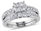 Princess Cut 1.0 Carat (ctw) Diamond Engagement Ring & Band Bridal Wedding Set in 14K White Gold
