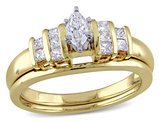 Marquise Cut 1/2 Carat (ctw) Diamond Engagement Ring & Wedding Band Set in 14K Yellow & White Gold