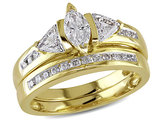 Marquise Cut Diamond Engagement Ring & Wedding Band 1.0 Carat (ctw) in 14K Yellow Gold