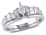 Marquise Cut 1/2 Carat (ctw Color H-I Clarity I2-I3) Diamond Engagement Ring & Wedding Band Bridal Set  in 14K White Gold