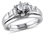 Diamond Engagement Ring & Wedding Band 1/2 Carat (ctw) Bridal Set in 14K White Gold