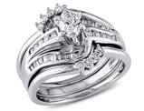 Marquise Cut 3/4 Carat (ctw) Diamond Engagement Ring & Wedding Band Set in 14K White Gold